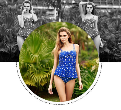 Outlet Appeal Retro Polka Dot Print Strapless Monokini Swimdress Swimsuit - Small-5XL