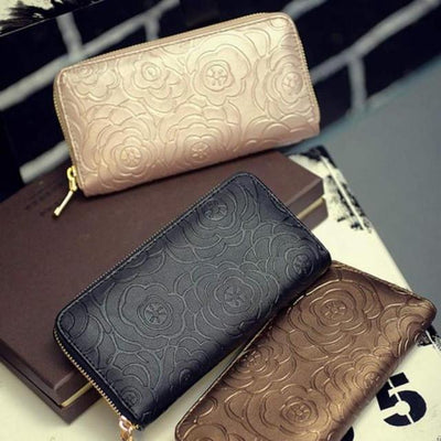 Outlet Appeal Rondom color Women's Rose Embossed Long Wallet Business Zipper Faux Leather Clutch Wallet