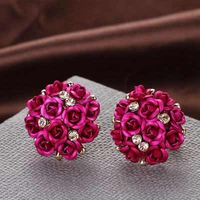 Outlet Appeal Rose / one-size Fashion Jewelry Bohemia Flower Rhinestone  Earrings For Women Summer Style A