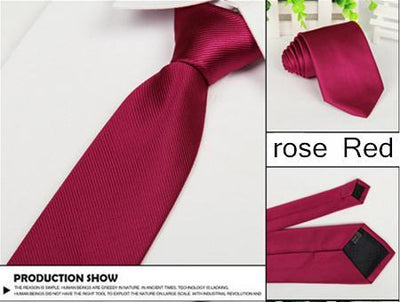 Outlet Appeal Rose Red Solid 8cm slim ties men necktie Fashion Man Accessories For Party Business Formal lot