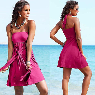 Outlet Appeal Rose Red / XL Fashion Summer Sleeveless Low cut Backless Halter neck Mini Beach Dress Wear Skirt