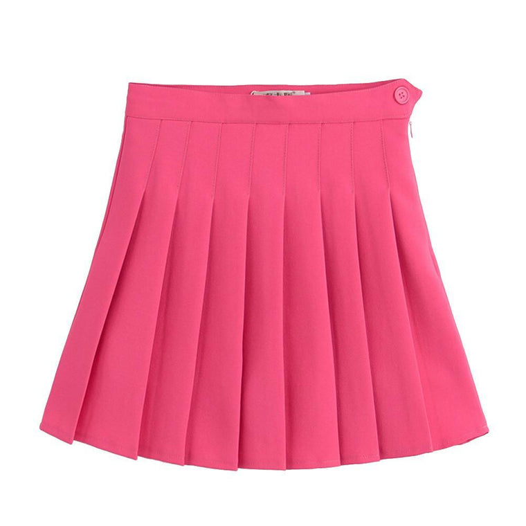 39d54c71167 Outlet Appeal Rose Red   XXL Sports High Waist Skirts Short Pleated Skirt  School Dresses for