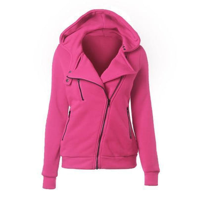 Outlet Appeal rose / XXL Women's Slim Fit Long Sleeve Cotton Zipper Jacket Hoodie