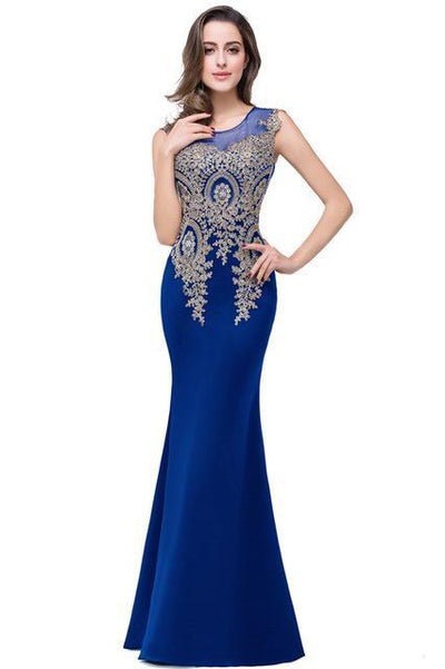Outlet Appeal royal blue / 2 Lace Mermaid Prom Dresses Long Embroidery Evening Party Dress