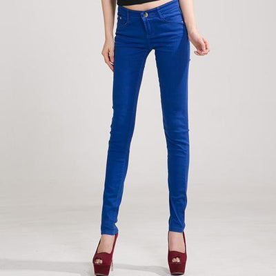 Outlet Appeal Royal blue / 25 Denim Pants Candy Color Womens Jeans Stretch Bottoms Skinny Pants For Women Trousers