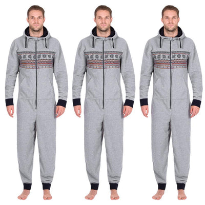 Outlet Appeal S Men All In One Hooded Long Sleeve Snow Print Floral Zip Trousers Long Jumpsuit