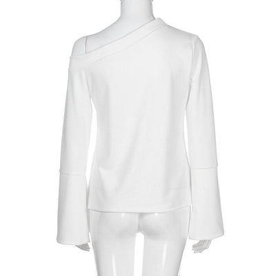 Outlet Appeal S Women White Flare Long Sleeve Solid Pure Off Shoulder Sexy Shirt Blouse Top
