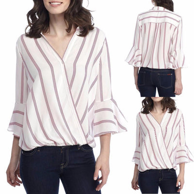 Outlet Appeal S Womens Ladies Casual Striped Shirt Three Quarter Sleeve Top Tank Blouse