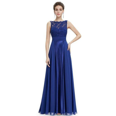 Outlet Appeal Sapphire Blue / 4 / China Evening Dresses Gorgeous Formal Round Neck Lace Long Sexy Red Women Party