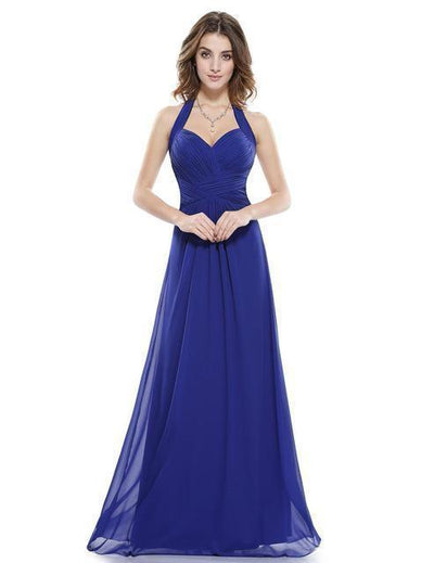 Outlet Appeal Sapphire Blue / 4 / China Prom Dress A Line Ever Pretty Empire Halter Long Maxi Sleeveless Long Prom Dresses