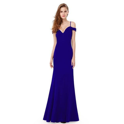Outlet Appeal Sapphire Blue / 6 / China Prom Dresses V-neck Women's Elegant Off-the-shoulder Sleeveless Long Party Dresses Ever Pretty