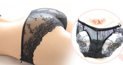 Outlet Appeal Seamless Low Waist Transparent Lace Embroidery Panties Underwear - One Size - 6 Colors