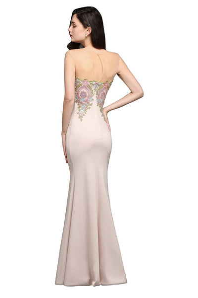 Outlet Appeal Sheer Back Lace Mermaid Evening Dress Long Chiffon Evening Gown