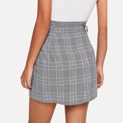 Outlet Appeal Sheinside Grey Women Mini Skirts Summer Pencil Skirt Female Button Up Knot Front Plaid Skirts Womens Clothing Ladies Short Skirt