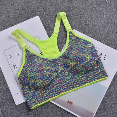 Outlet Appeal Shiny Green / L High Intensity Sports Bra Space Dye Seamless Wirefree Stretchy Breathable Removable Pads