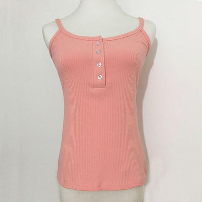Outlet Appeal shrimp pink / S Slim Button Up Spaghetti Strap Tank Top - 5 Colors