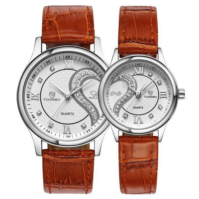 Outlet Appeal Silver 1 Pair Tiannbu Ultrathin Leather Romantic Fashionuple Wrist Watches