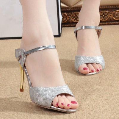 Outlet Appeal silver / 4.5 High Heel Shoes Sandals Gold Silver