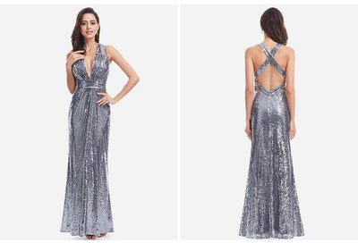 Outlet Appeal Silver / 4 / China Sparkle Sequin Mermaid Long V-Neck Evening Dress Party Gown