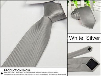 Outlet Appeal Silver Solid 8cm slim ties men necktie Fashion Man Accessories For Party Business Formal lot