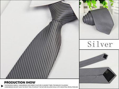 Outlet Appeal Silver white line Solid 8cm slim ties men necktie Fashion Man Accessories For Party Business Formal lot