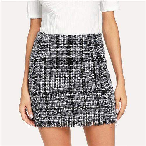 4106d4a336 Outlet Appeal Silver / XS Sheinside Plaid Frayed Trim Tweed Bodycon Mini  Skirt For Women High