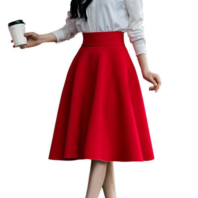 Outlet Appeal Skirt High Waisted Skirts Womens White Knee Length Bottoms Pleated Skirt XS-5XL Pink Black Red Blue