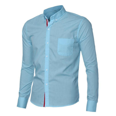 Outlet Appeal Sky Blue / L Navy Blue/Light Blue/White Mens Button Shirt Slim Fit Long Sleeve Men Shirts Social Shirt