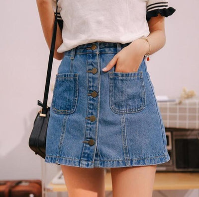 Outlet Appeal Sky Blue / S Button Front High Waist A-line Denim Mini Skirt