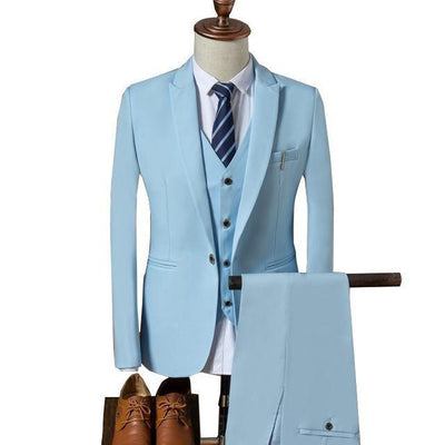 Outlet Appeal Sky Blue / XL Suit Men Slim Fit Suits for Men 3 Piece Jacket Pants Vest Suit Mens Formal Wear