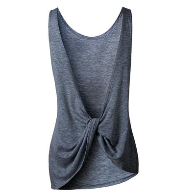 Outlet Appeal Sleeveless Backless Shirt Knotted Tank Top