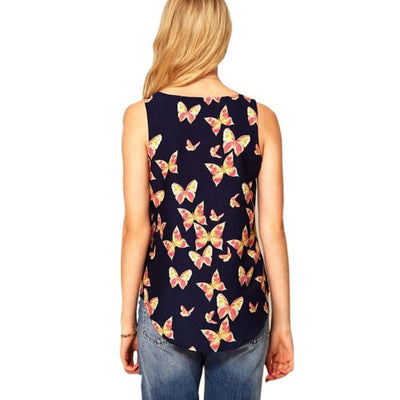 Outlet Appeal Sleeveless Chiffon Butterfly Print Tank Top Shirt - Small-XXL