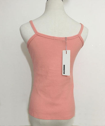 Outlet Appeal Slim Button Up Spaghetti Strap Tank Top - 5 Colors