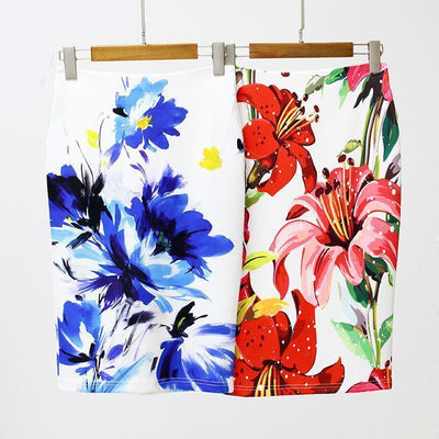 Outlet Appeal Slim Stretchy High Waist Floral Back-Split Midi Pencil Skirt