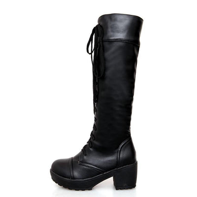 Outlet Appeal Soft Faux Leather Knee High Lace Up Mid Heel Boots