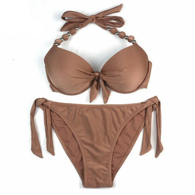 Outlet Appeal Solid Brown / S Floral Print Brazilian Push Up Halter Bikini Swimsuit Set - Small-XXL - 14 Colors/Patterns