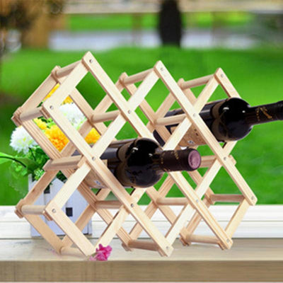 Outlet Appeal Solid Wood Folding Wine Rack Wine Stand Wooden Bottle Holder Creative gift series