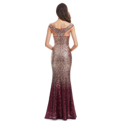 Outlet Appeal Sparkle Sequin Mermaid Long V-Neck Evening Dress Party Gown