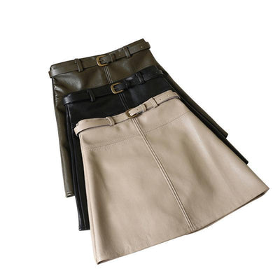 Outlet Appeal Spring Autumn PU Skirt Solid Faux Leather Mini Skirts Elegant Casual Short Slim Skirt with belt