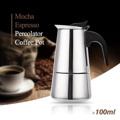 Outlet Appeal Stainless Steel Coffee Maker Mocha Espresso Latte Stovetop Filter Pot 100ML - 400ML Percolator