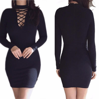 Outlet Appeal Strappy Choker-neck Knitted Long Sleeve Slim Sheath Dress - 6 Colors