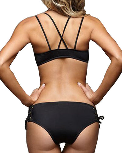 Outlet Appeal Strappy Cross Back Tie-Front Push Up Top Brazilian Bottom Bikini Swimsuit Set