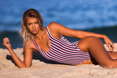 Outlet Appeal Striped Retro Padded High Cut One Piece Monokini Swimsuit