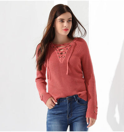 Outlet Appeal Sweater Women Pullover Long Sleeve Knitted Tops Women's Knitwear 2018 GAREMAY