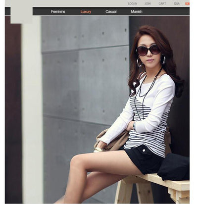 Outlet Appeal T Shirt Women Striped T-shirt Long Sleeve Tops Womens T-Shirts Cotton Casual Tee Shirt