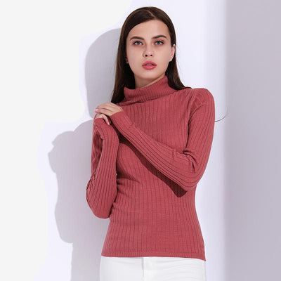 Outlet Appeal Turtleneck Pullover Women Knitted Sweaters Thin Pullover Long Sleeve Knitwear GAREMAY