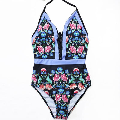 Outlet Appeal V Neck Vintage Floral One Piece Monokini Swimsuit