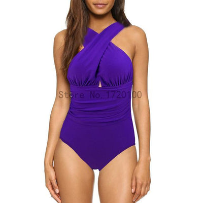 Outlet Appeal WC0081Z1 / S Cross Halter One Piece Swimsuit - 7 Patterns