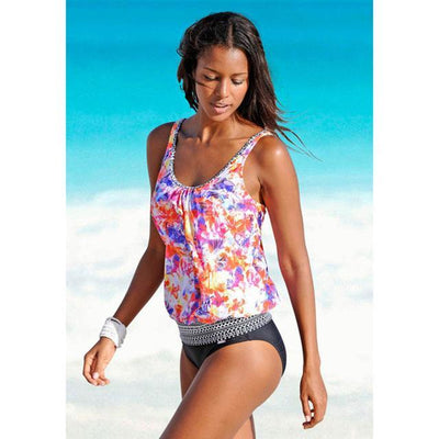 Outlet Appeal wc18171 / S Vintage Beach Tankini Swimsuit Set - Small-XXL