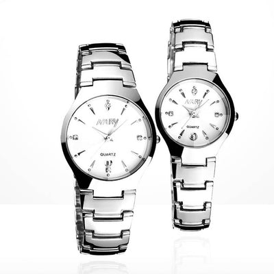 Outlet Appeal White 1 Pair Luxury Single Calendar Quartz Stainless Steel Date Wrist Watches